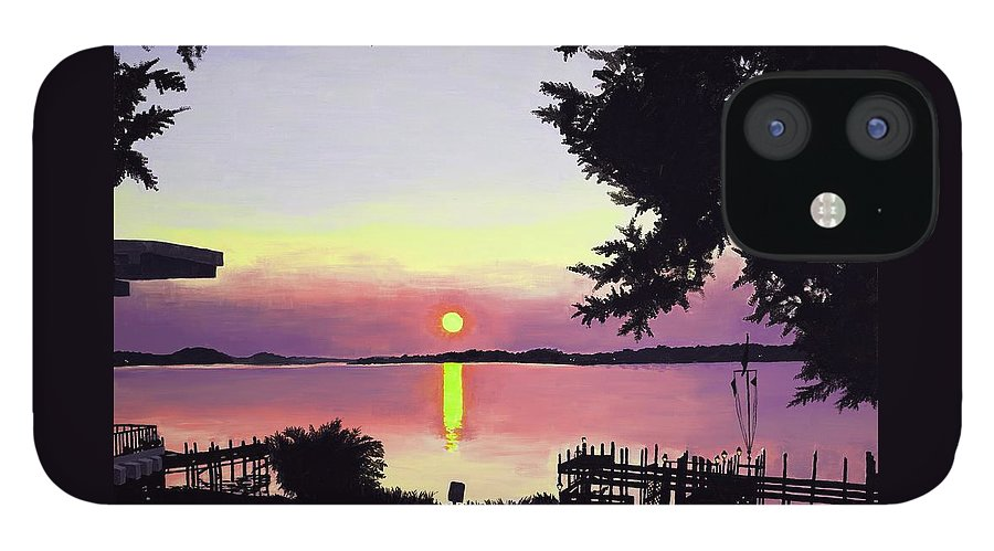 Sunset On Lake IPhone 12 Case featuring the painting Sunset on Lake Dora by Judy Swerlick