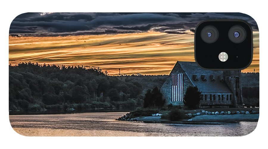 Landscape IPhone 12 Case featuring the photograph Sunset on The Old Stone Church by Bob Bernier