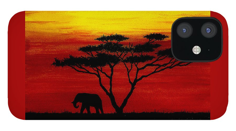Africa IPhone 12 Case featuring the painting Sunset on the Serengeti by Michael Vigliotti
