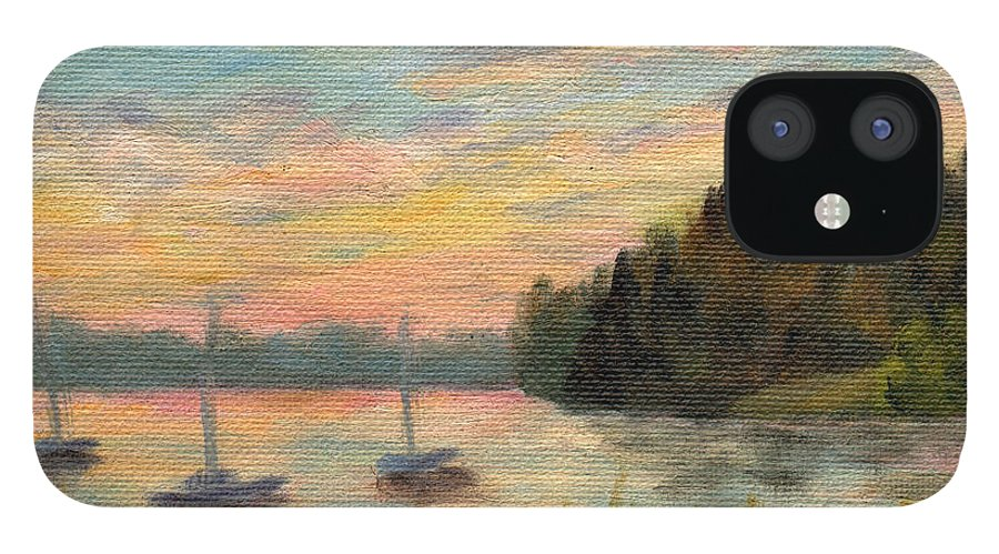 Sunset iPhone 12 Case featuring the painting Sunset Over Massabessic by Sharon E Allen