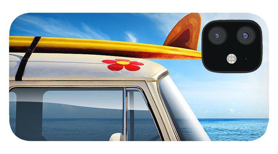 60ties IPhone 12 Case featuring the photograph Surf Van by Carlos Caetano