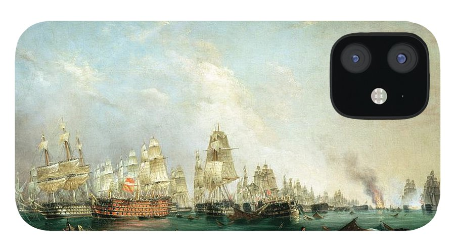 Surrender iPhone 12 Case featuring the painting Surrender of the Santissima Trinidad to Neptune The Battle of Trafalgar by Lieutenant Robert Strickland Thomas