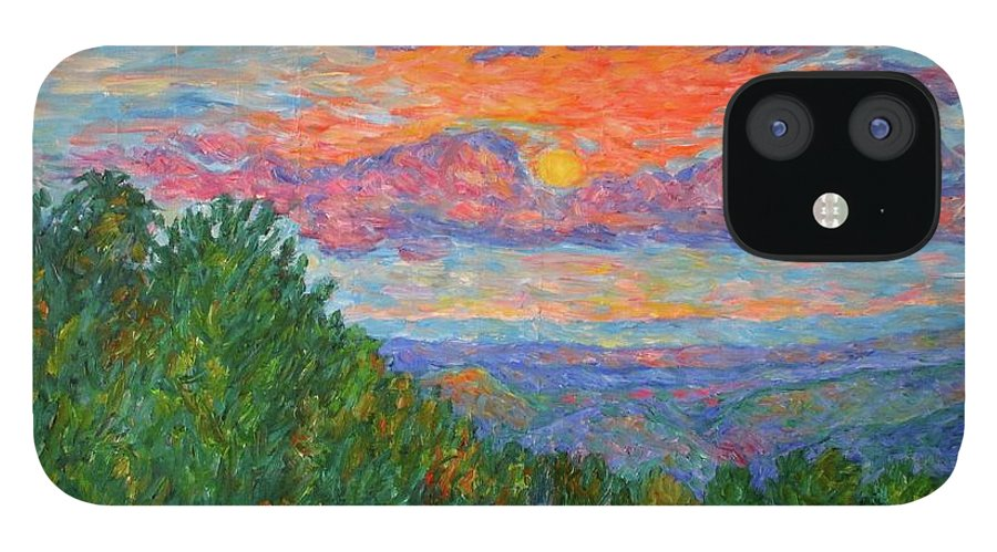 Landscapes For Sale IPhone 12 Case featuring the painting Sweet Pea Morning on the Blue Ridge by Kendall Kessler