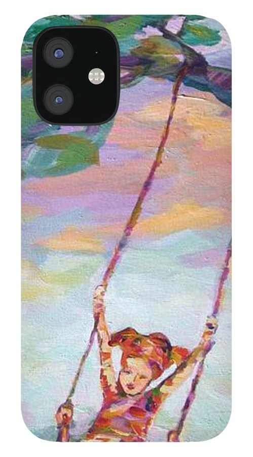 Child Swinging iPhone 12 Case featuring the painting Swinging With Sunset Energy by Naomi Gerrard