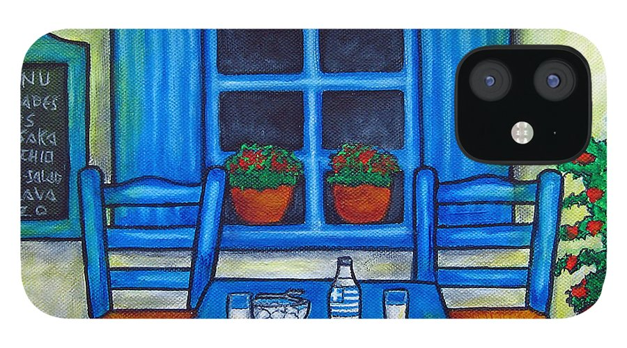 Blues IPhone 12 Case featuring the painting Table for Two in Greece by Lisa Lorenz