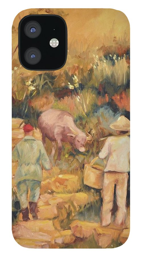 Water Buffalo IPhone 12 Case featuring the painting Taipei Buffalo Herder by Ginger Concepcion