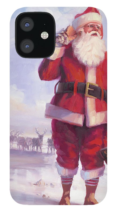 Christmas IPhone 12 Case featuring the painting Taking a Break by Steve Henderson