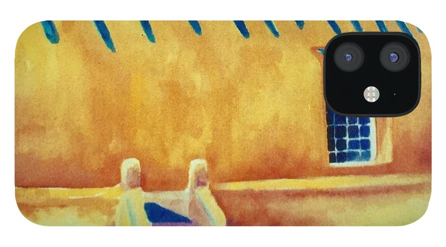 Taos Noon IPhone 12 Case featuring the painting Taos Noon by Caroline Patrick