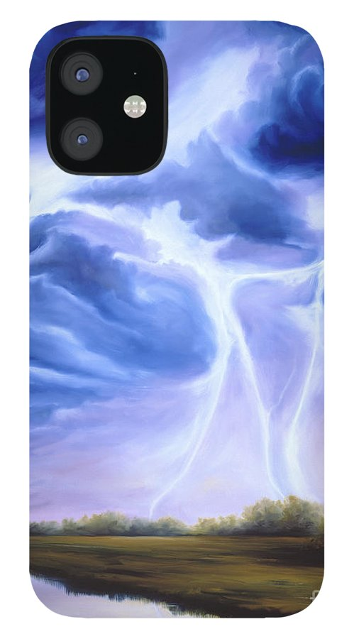 Marsh IPhone 12 Case featuring the painting Tesla by James Christopher Hill