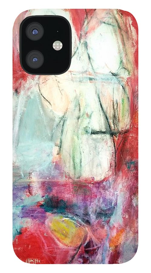 Red IPhone 12 Case featuring the painting Tete-a-tete by Patricia Byron