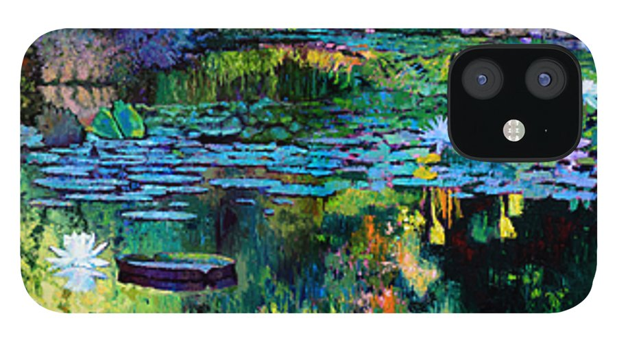 Water Lilies IPhone 12 Case featuring the painting The Abstraction of Beauty one and two by John Lautermilch
