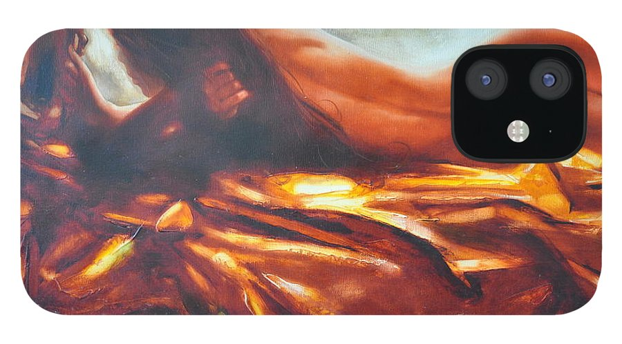 Painting IPhone 12 Case featuring the painting The amber speck of light by Sergey Ignatenko