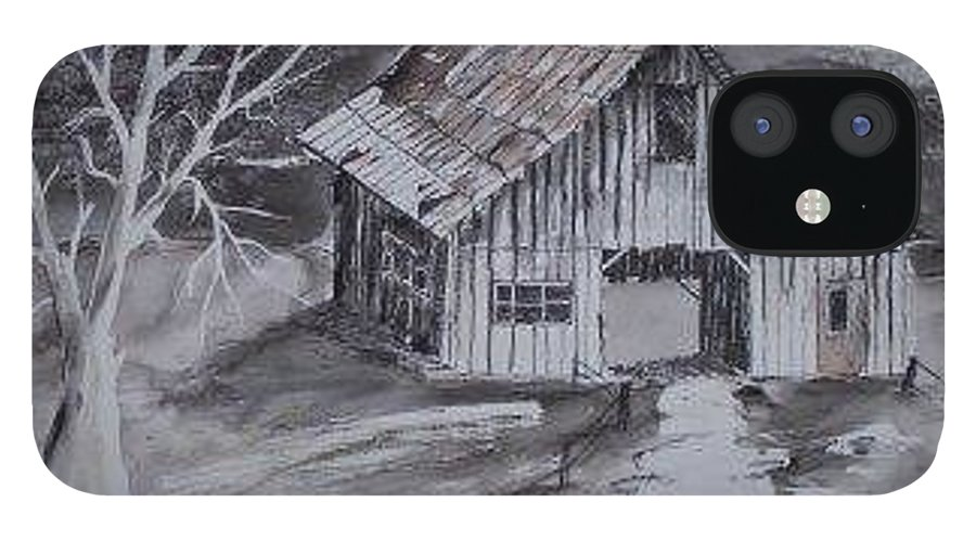 Watercolor Landscape Painting Barn Pen And Ink Painting Drawing IPhone 12 Case featuring the painting THE BARN country pen and ink drawing by Derek Mccrea