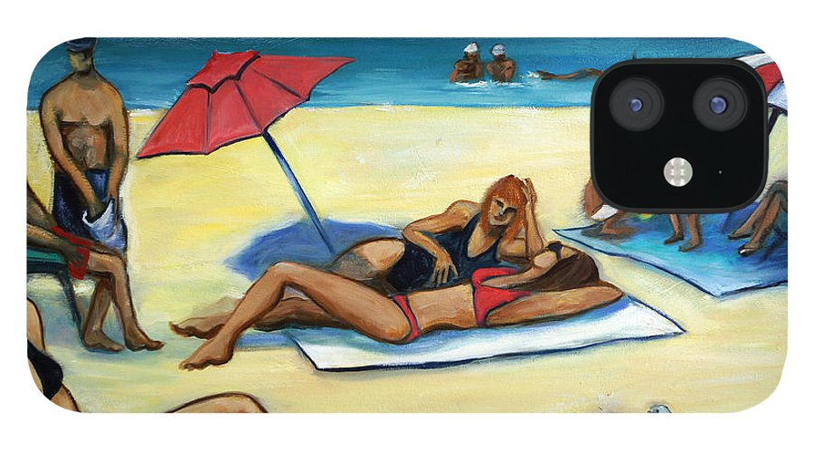 Beach Scene IPhone 12 Case featuring the painting The Beach by Valerie Vescovi
