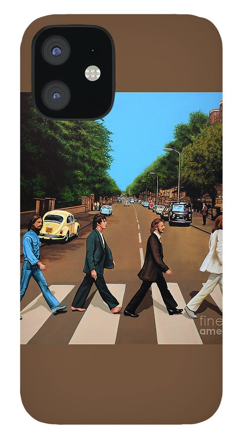 The Beatles IPhone 12 Case featuring the painting The Beatles Abbey Road by Paul Meijering