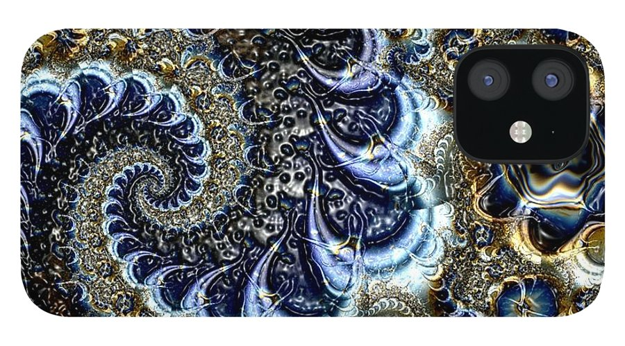 Fractal Diamonds Blue Jewel Dance River IPhone 12 Case featuring the digital art The blue diamonds by Veronica Jackson