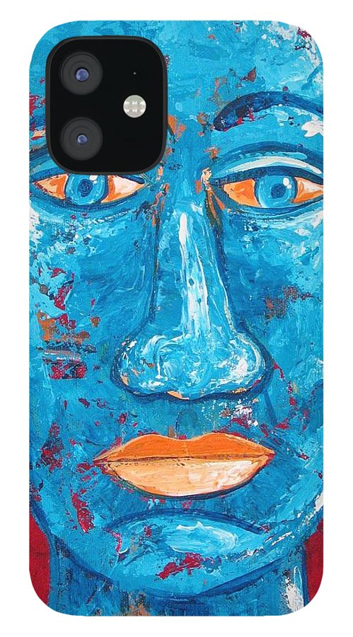 Man IPhone 12 Case featuring the painting Contemplative Blue by Rollin Kocsis
