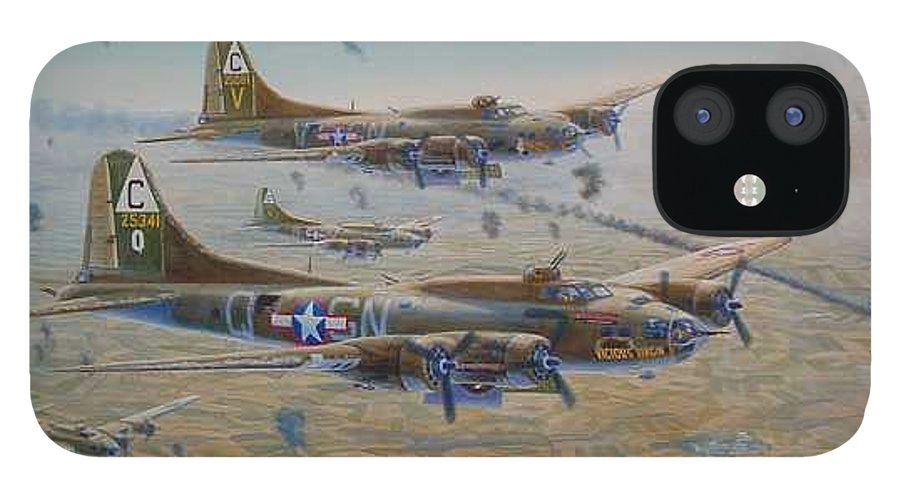 303rd Bomb Groups Vicious Virgin IPhone 12 Case featuring the painting The Bomb Run Over Schwienfurt by Scott Robertson