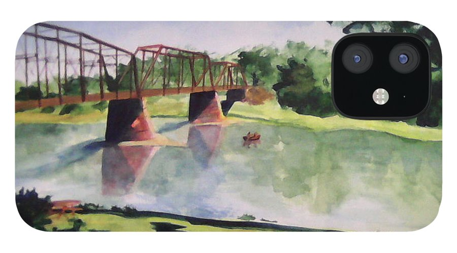 Bridge IPhone 12 Case featuring the painting The Bridge at Ft. Benton by Andrew Gillette