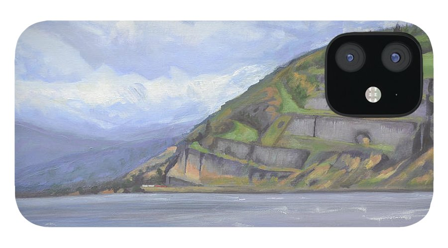 The Columbia River Gorge IPhone 12 Case featuring the painting Heart of the Gorge by Mary Chant