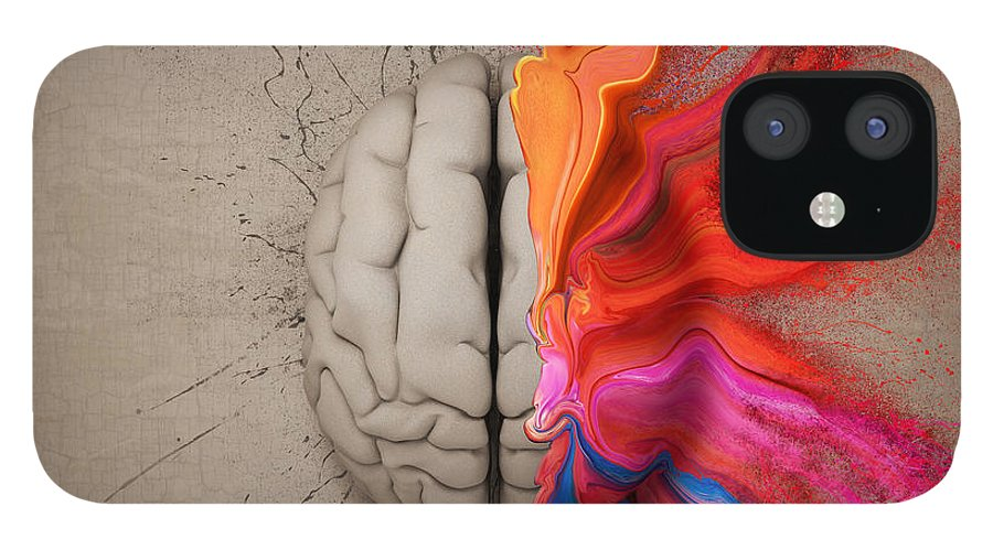 Brain IPhone 12 Case featuring the digital art The Creative Brain by Johan Swanepoel