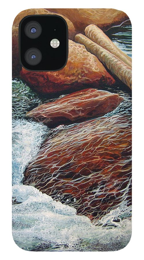 Stream IPhone 12 Case featuring the painting The Crossing by Hunter Jay