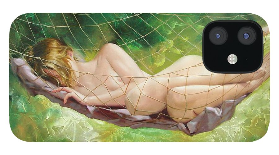 Oil IPhone 12 Case featuring the painting The dream in summer garden by Sergey Ignatenko