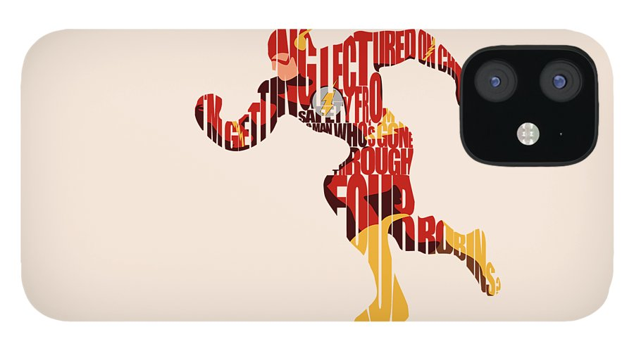 Flash IPhone 12 Case featuring the digital art The Flash by Inspirowl Design
