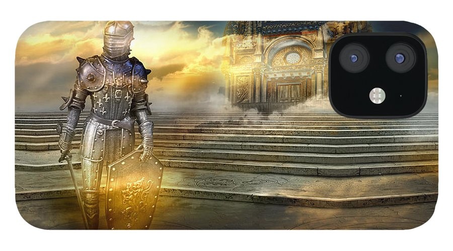 Guardian Knight Palace Court Surrealism Sky Clouds Shield Magic Aerial Castle Fairytales Fantastic IPhone 12 Case featuring the photograph The guardian of the celestial palace by Desislava Draganova