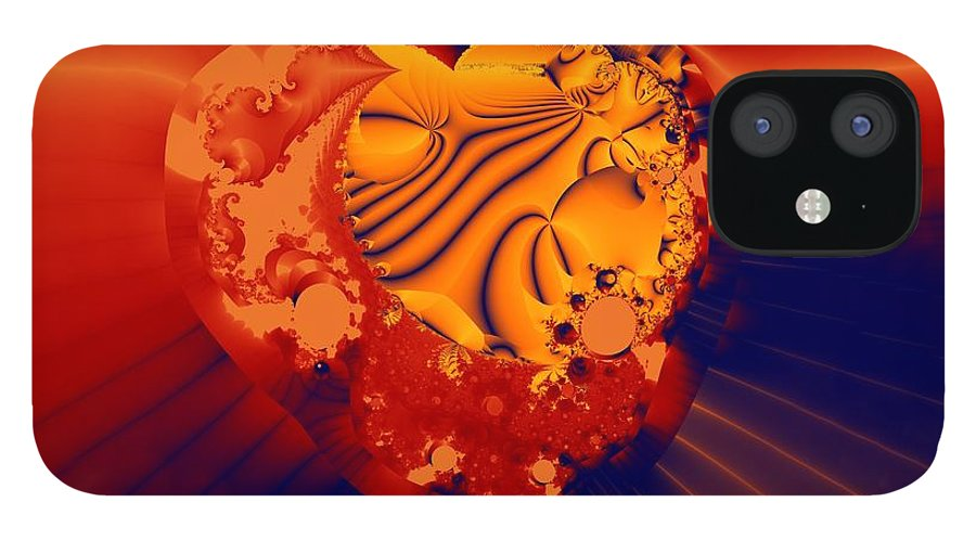 Fractal Art IPhone 12 Case featuring the digital art The Heart of the Matter by Ron Bissett