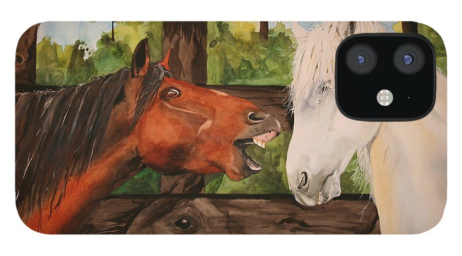 Horse IPhone 12 Case featuring the painting The Horse Whisperers by Jean Blackmer