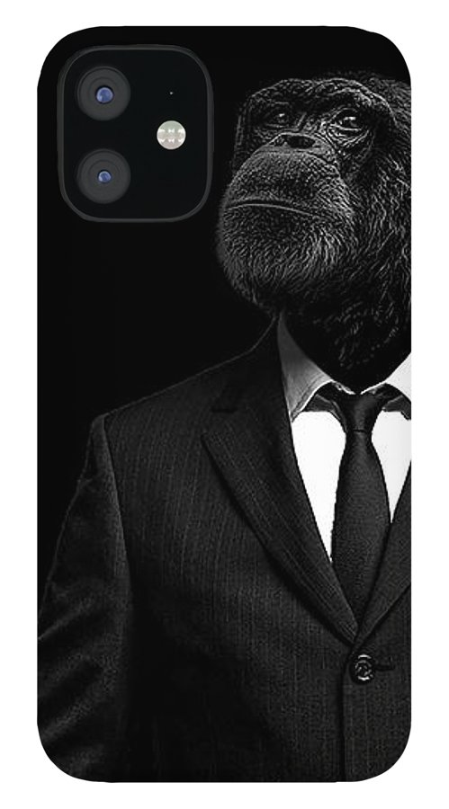 Chimpanzee IPhone 12 Case featuring the photograph The interview by Paul Neville