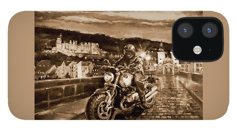 Sepia Painting IPhone 12 Case featuring the painting The Knight of Heidelberg-Sepia by BJ Lane