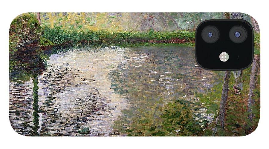 The Lake At Montgeron By Claude Monet (1840-1926) IPhone 12 Case featuring the painting The Lake at Montgeron by Claude Monet