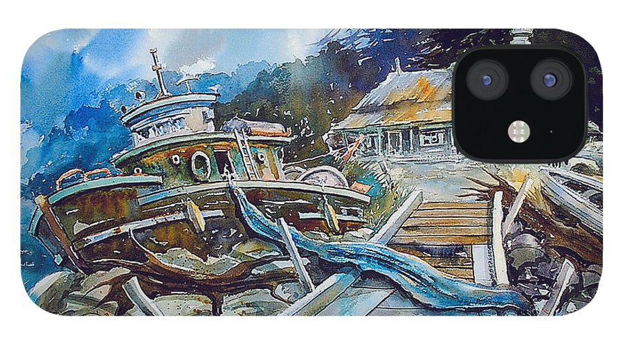 Boat iPhone 12 Case featuring the painting The Last Bastion..on the Beach by Ron Morrison