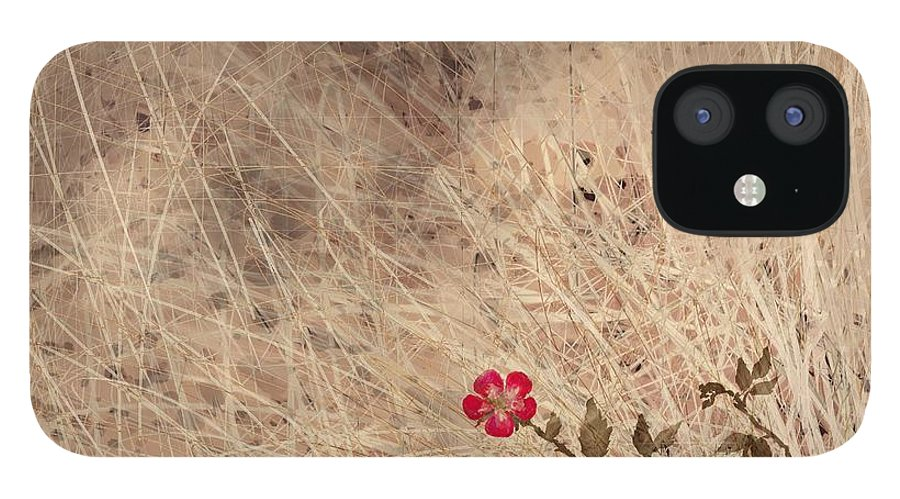 Abstract IPhone 12 Case featuring the digital art The Last Blossom by William Russell Nowicki