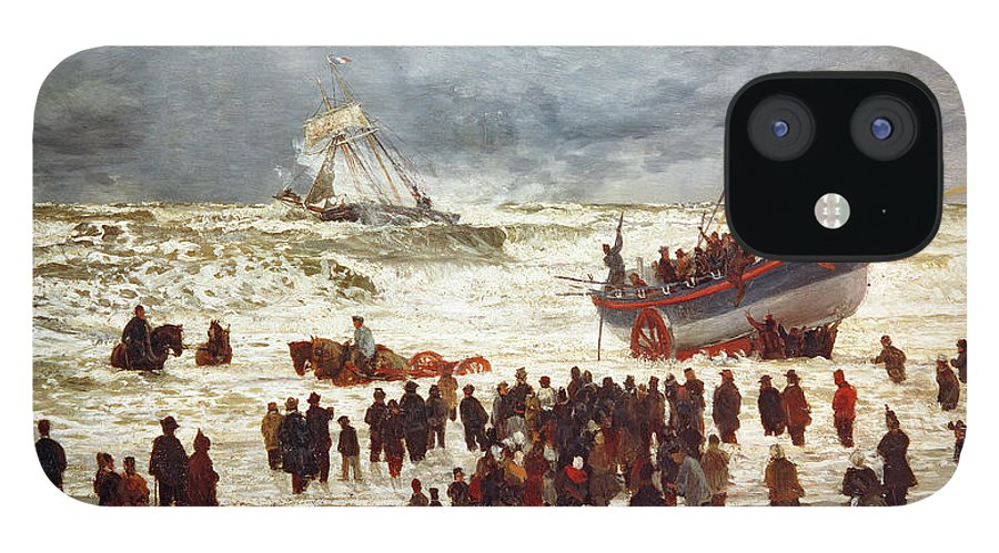 The IPhone 12 Case featuring the painting The Lifeboat by William Lionel Wyllie