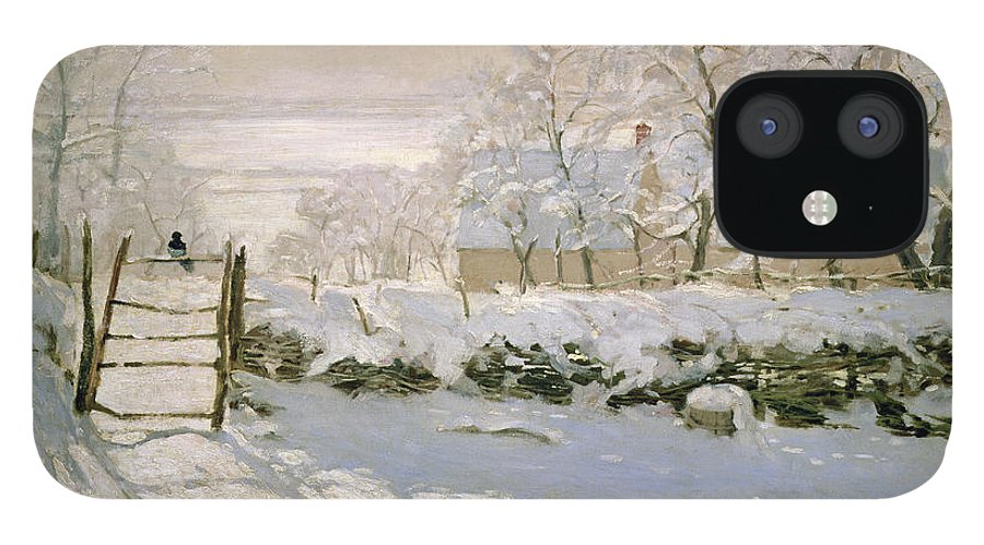 The IPhone 12 Case featuring the painting The Magpie by Claude Monet