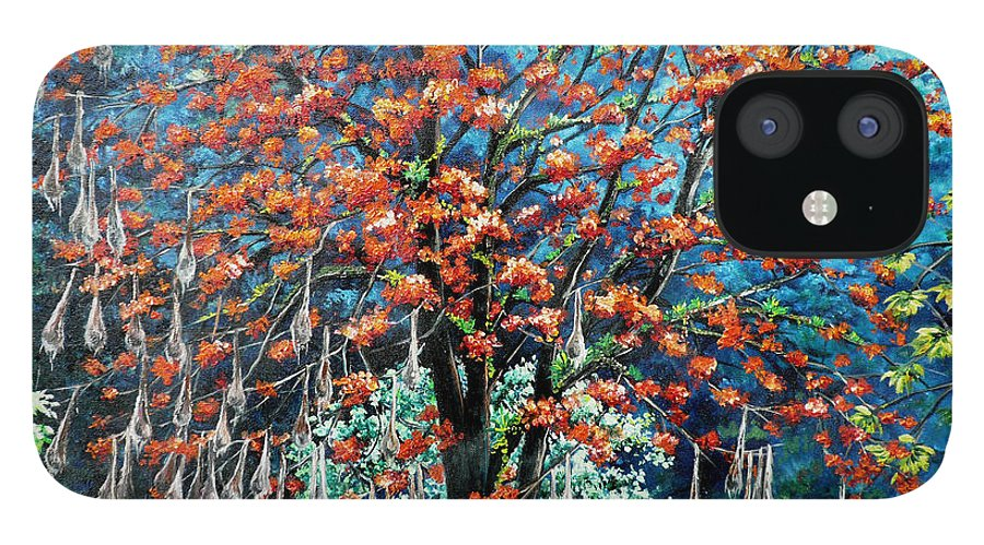 Tree Painting Mountain Painting Floral Painting Caribbean Painting Original Painting Of Immortelle Tree Painting  With Nesting Corn Oropendula Birds Painting In Northern Mountains Of Trinidad And Tobago Painting IPhone 12 Case featuring the painting The Mighty Immortelle by Karin Dawn Kelshall- Best