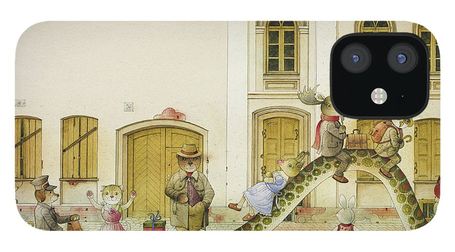Snake Buss Stop Old Town Street Animals House Traffic Illustration Children Book Rabbit Fox Bear Cat Deer Dog Goat Owl IPhone 12 Case featuring the painting The Neighbor around the Corner07 by Kestutis Kasparavicius