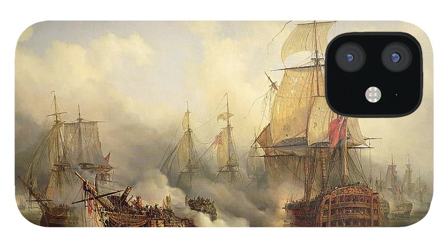 The IPhone 12 Case featuring the painting Unknown title Sea Battle by Auguste Etienne Francois Mayer