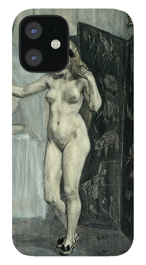 Felicien Rops IPhone 12 Case featuring the drawing The Screen by Felicien Rops