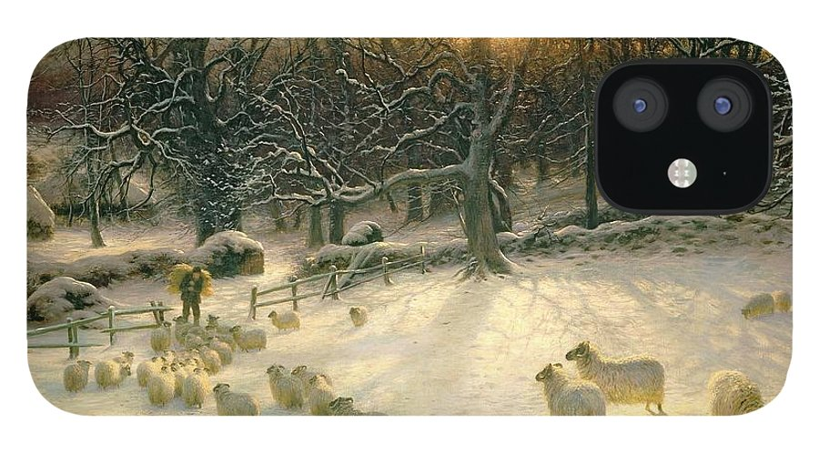 Winter IPhone 12 Case featuring the painting The Shortening Winters Day is Near a Close by Joseph Farquharson