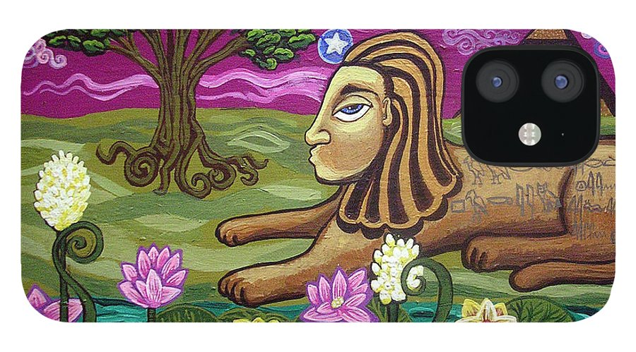 Egypt IPhone 12 Case featuring the painting The Sphinx by Genevieve Esson