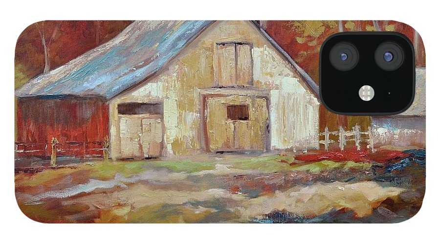 Barns iPhone 12 Case featuring the painting The Studio by Ginger Concepcion