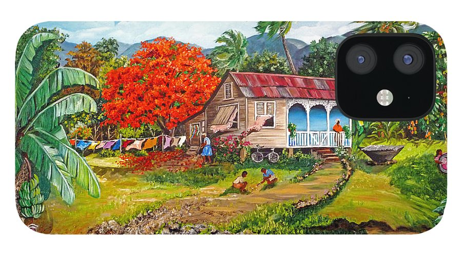 Tropical Scene Caribbean Scene IPhone 12 Case featuring the painting The Sweet Life by Karin Dawn Kelshall- Best