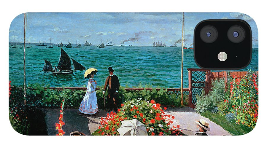 Claude Monet IPhone 12 Case featuring the painting The Terrace at Sainte Adresse by Claude Monet