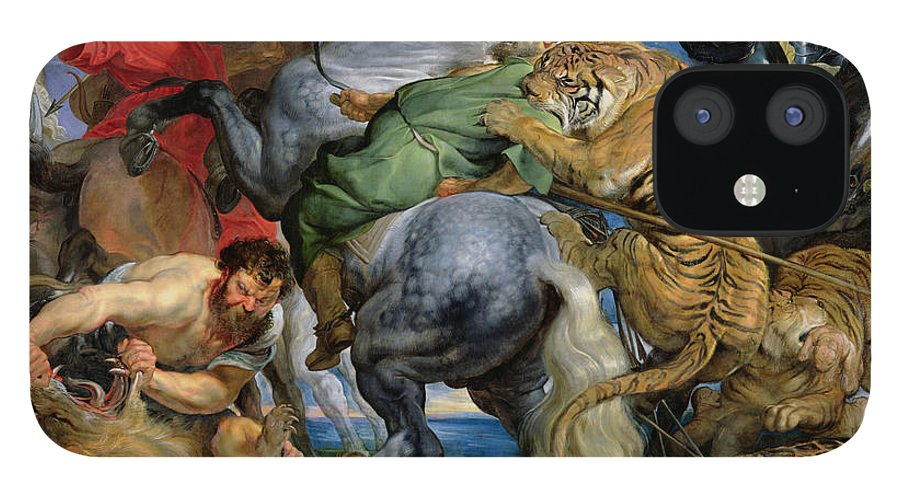 The IPhone 12 Case featuring the painting The Tiger Hunt by Rubens by Rubens