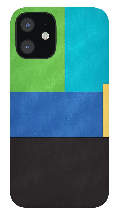 Modern IPhone 12 Case featuring the mixed media The View From Here- Modern Abstract by Linda Woods