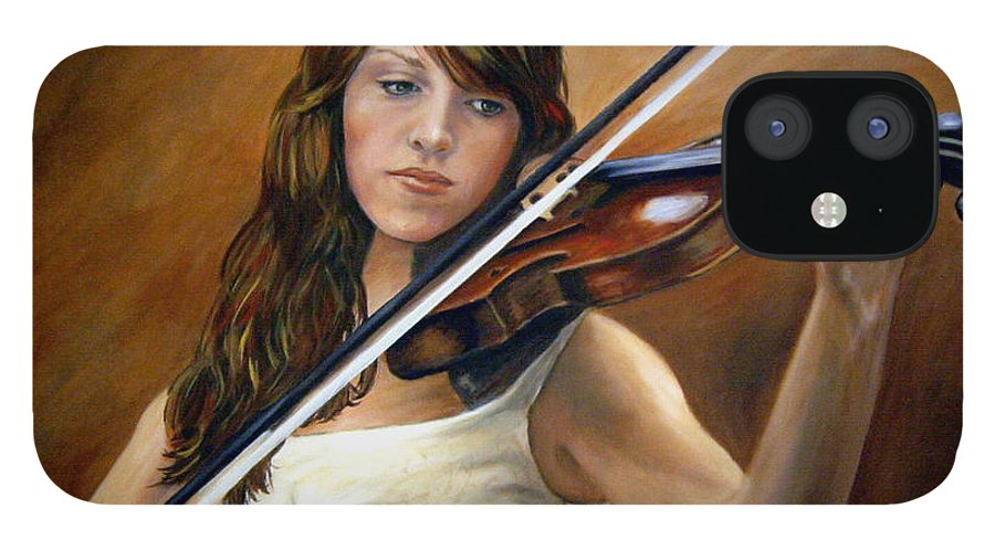 Portrait IPhone 12 Case featuring the painting The Violinist by Anne Kushnick